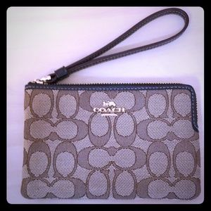 Authentic Coach Clutch, Brown Logo Fabric